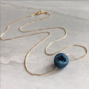 Blue agate bead 22k gold plated necklace. NIB.